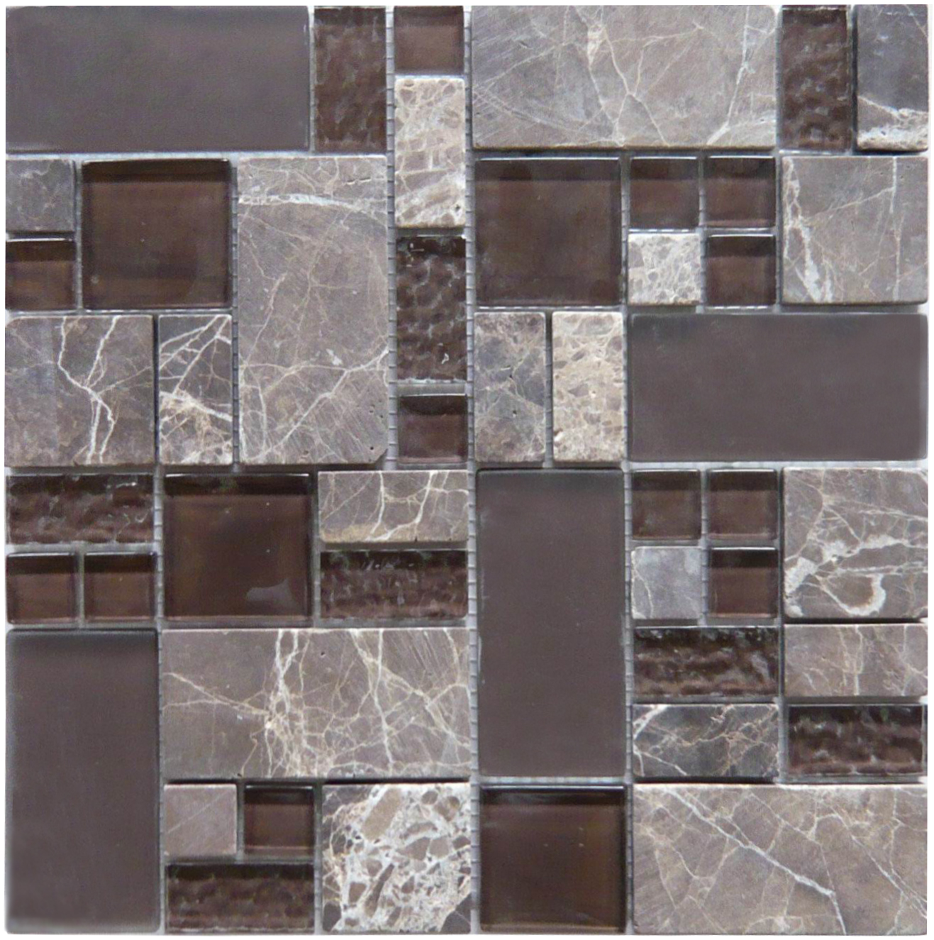 Obscure Russet (GQ02) Brown Glass & Stone Mosaic Tile