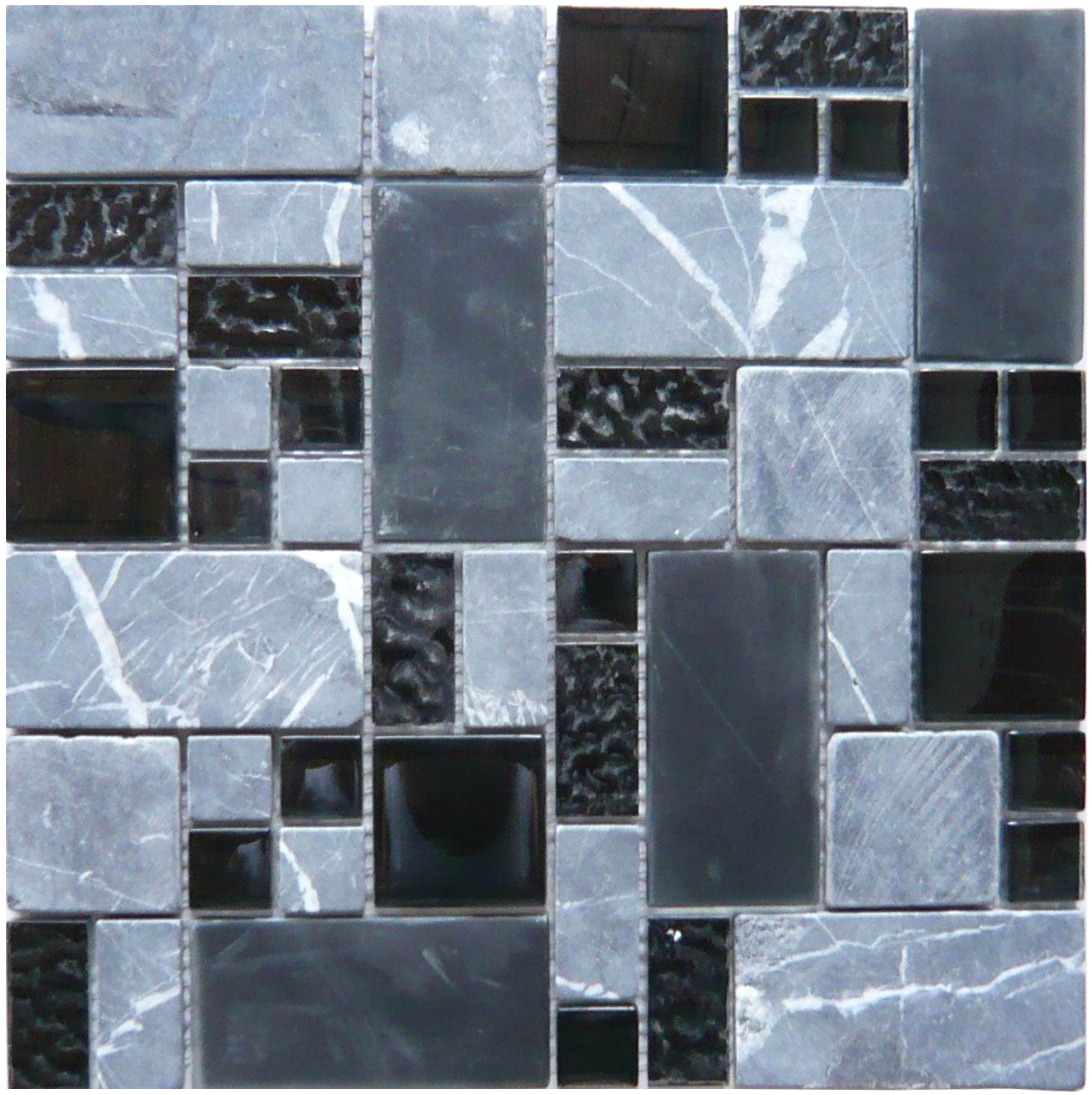 Obscure Carbon (GQ03) Black Gray Glass & Stone Mosaic Tile ...