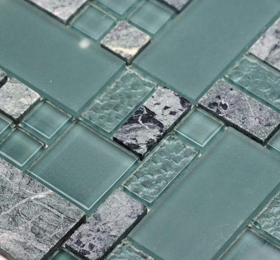 obscure turquoise gq04 green gray glass stone mosaic