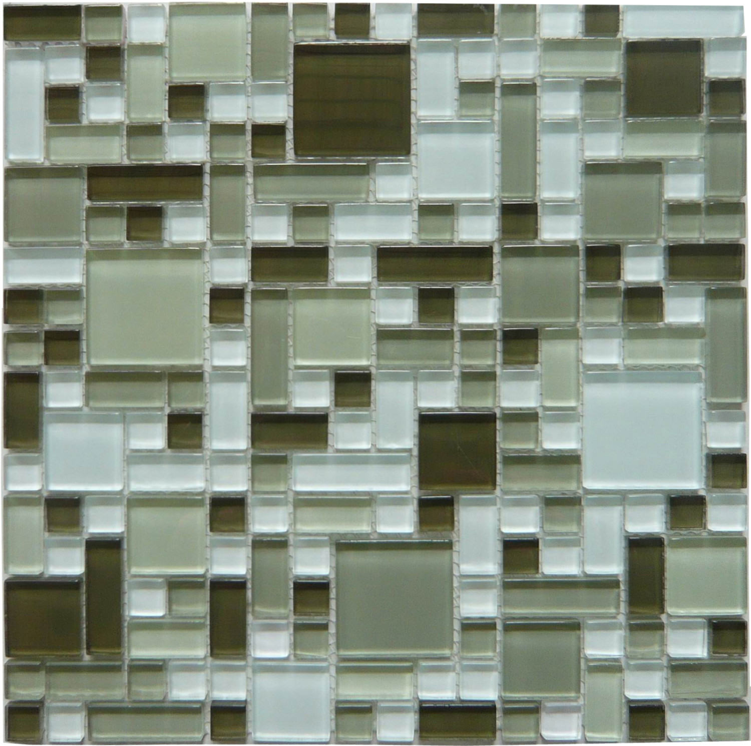 Olive Oil GP04 Green Puzzle Glass Mosaic Tile