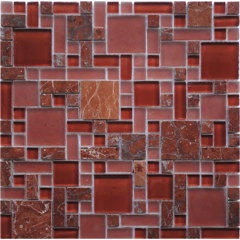 Royal Red GPS06 Marble Puzzle Glass & Stone Mosaic Tile